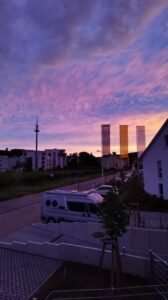 Sonnenuntergang mit Haus A